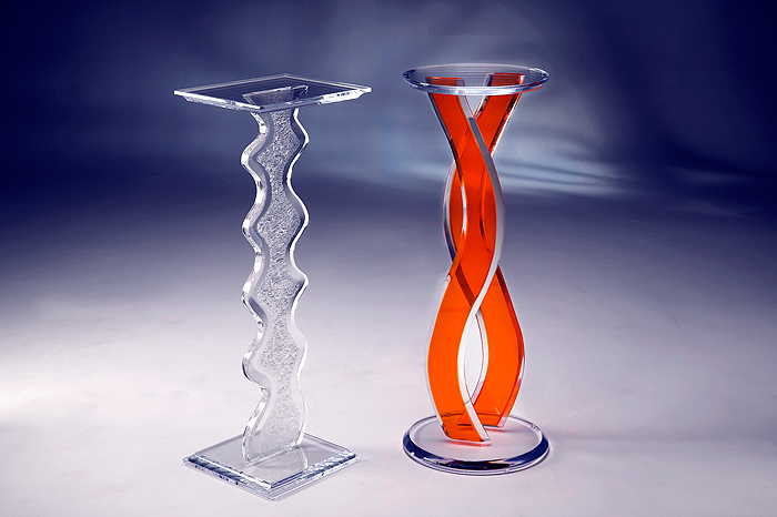 Aspen Acrylic Pedestal & Wave Acrylic Pedestal Image