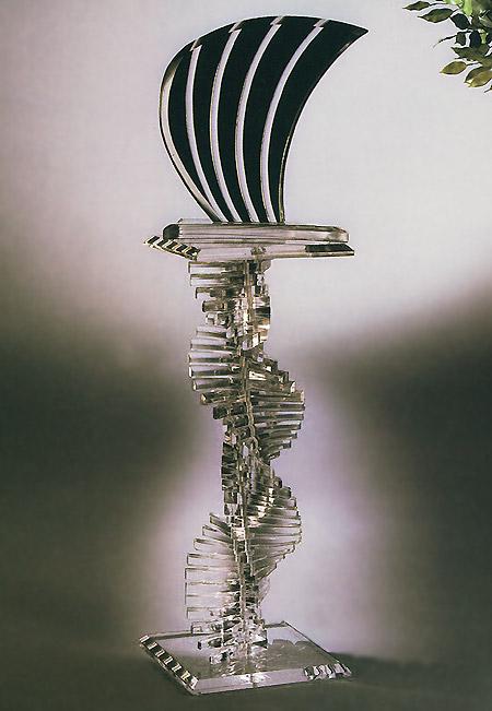 Luna Acrylic Sculpture & Spiral Acrylic Pedestal Image